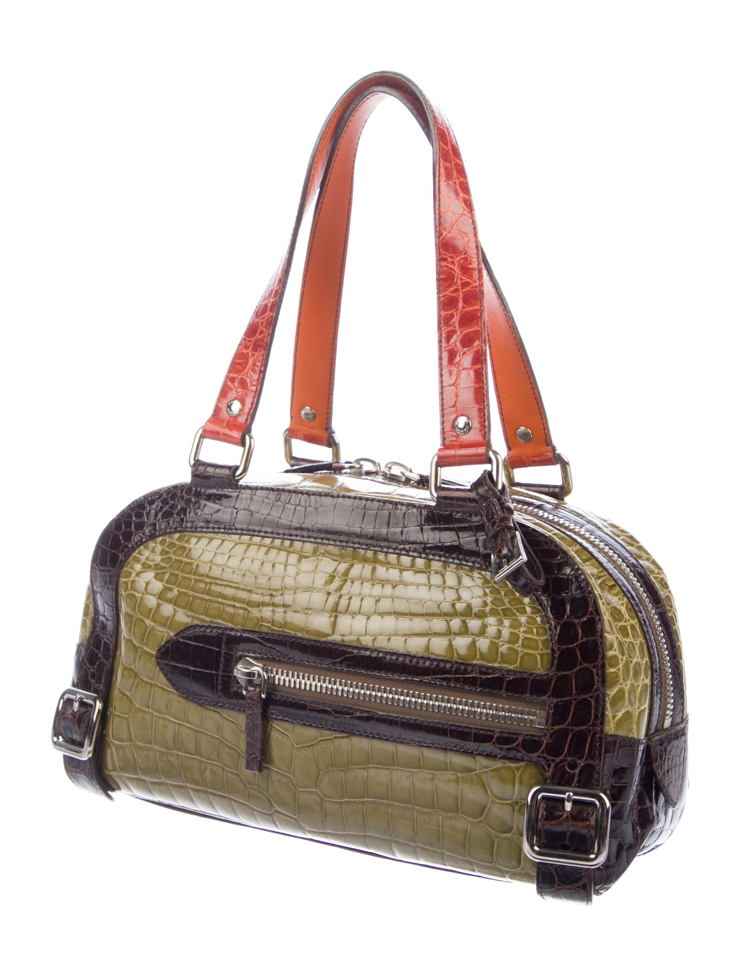 f54f934179ce Olive green, orange and walnut crocodile Prada Bauletto bag with  silver-tone hardware, dual flat shoulder straps, exterior zip pocket,  emerald leather ...