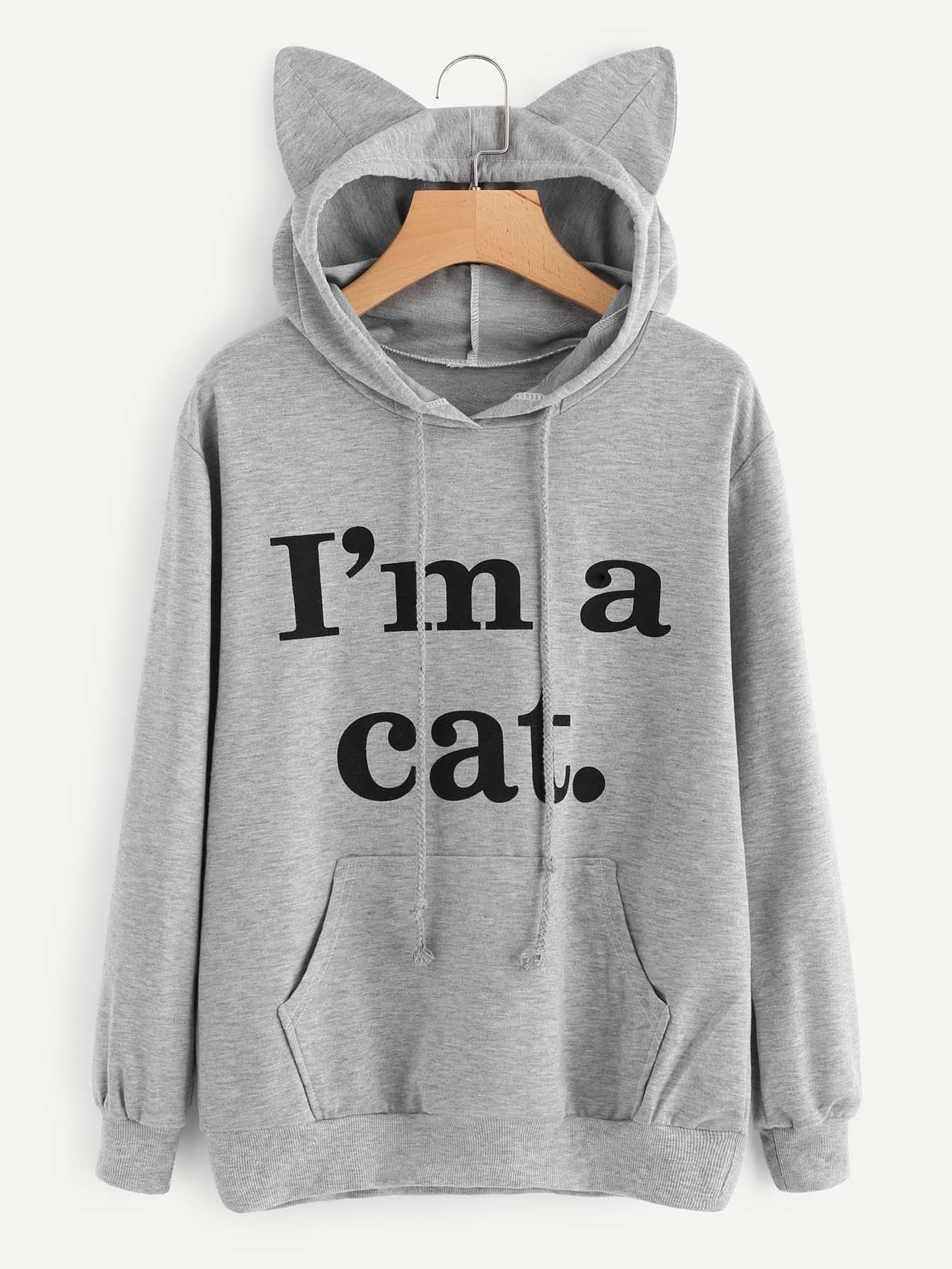 7b87fb4f2da Shop Slogan Print Cat Ear Marled Hoodie online. SheIn offers Slogan Print  Cat Ear Marled