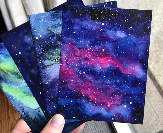 Galaxy Watercolor Postcards - Set of 5 - Nebula Art Aurora Northern Lights Painting Art Postcards Colorful Cards Space Stars Sky Prints - Malen -