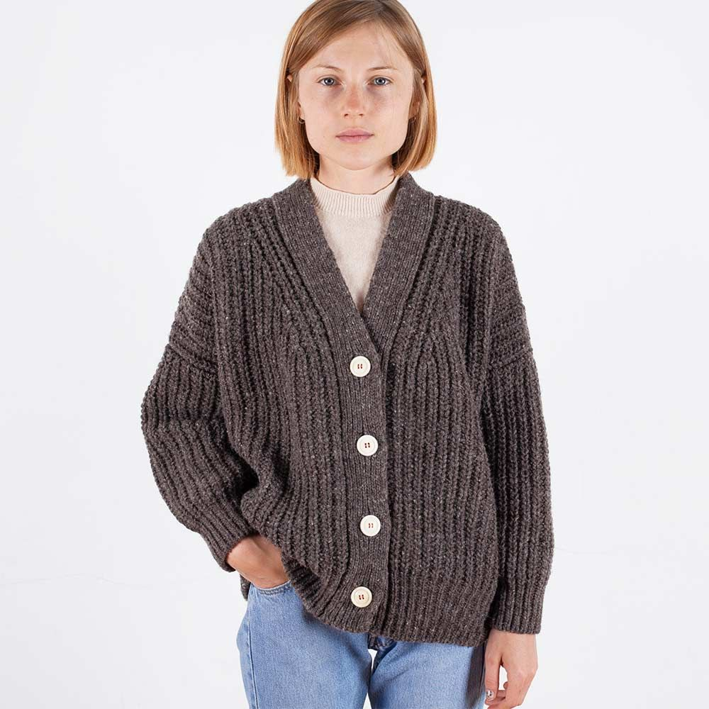 Perfect long sleeve cardigan in chunky texture. Knitted with ...