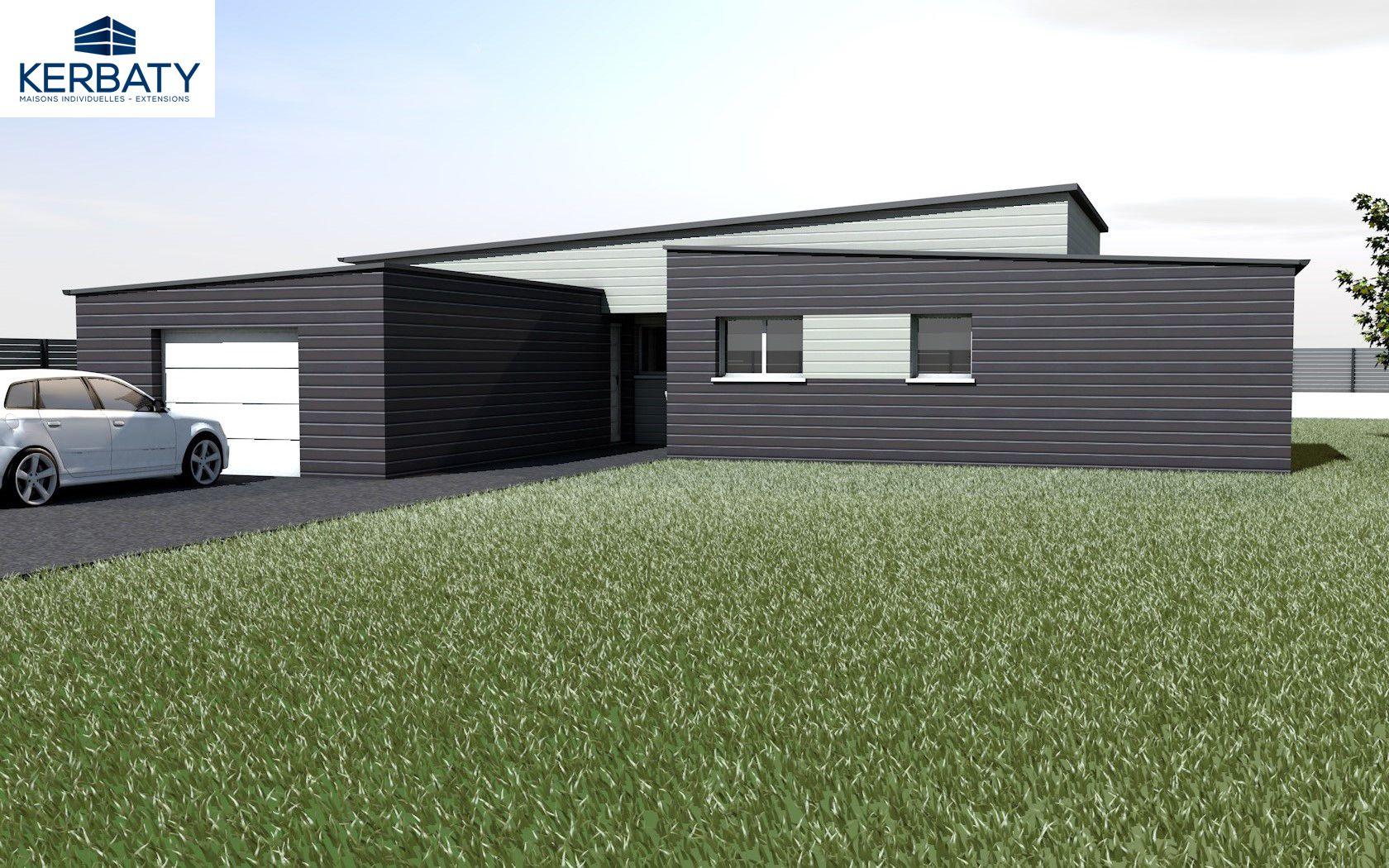 Idée maison bois contemporaine avec un toit plat et grand garage en ...