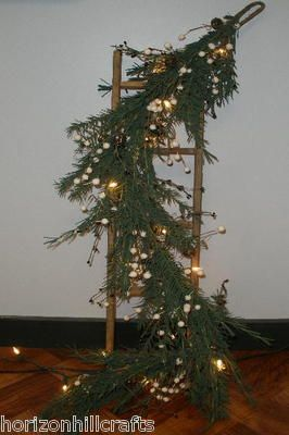 3ft Rustic Wooden Ladder Decorated with White Lights Greenery Berries Bells | eBay