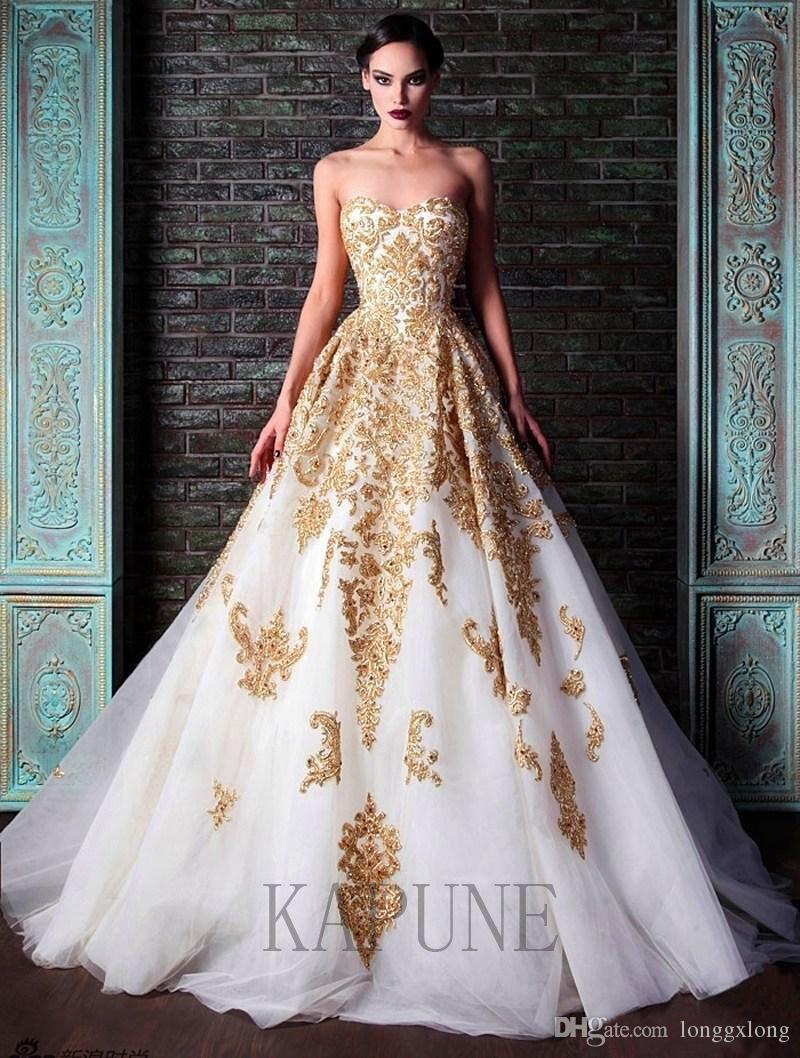 Awesome amazing luxury white wedding dresses gold appliques