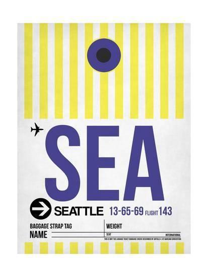 Sea Seattle Luggage Tag 1 Art Print Naxart Art Com In 2021 Stretched Canvas Wall Art Naxart Naxart Studio