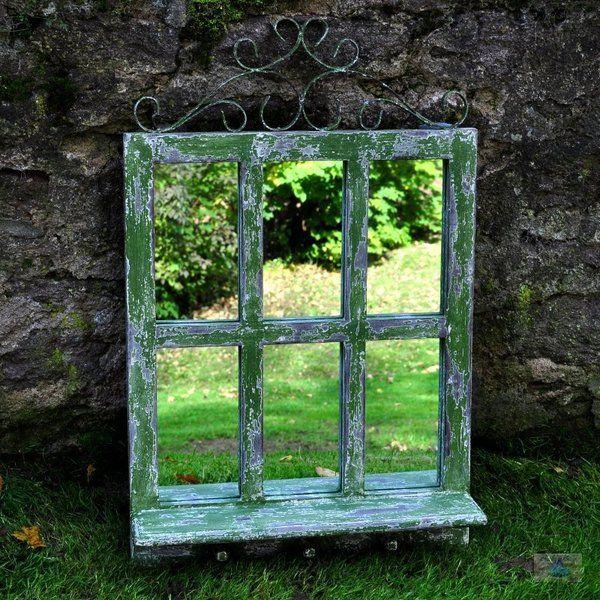 vintage sprossenfenster spiegel dublin shabby chic von shabbyflair decorations via. Black Bedroom Furniture Sets. Home Design Ideas