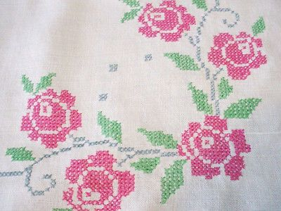 Linen Crosstitch Pink Rose Blue Swirl Tea Table Cloth Tablecloth.