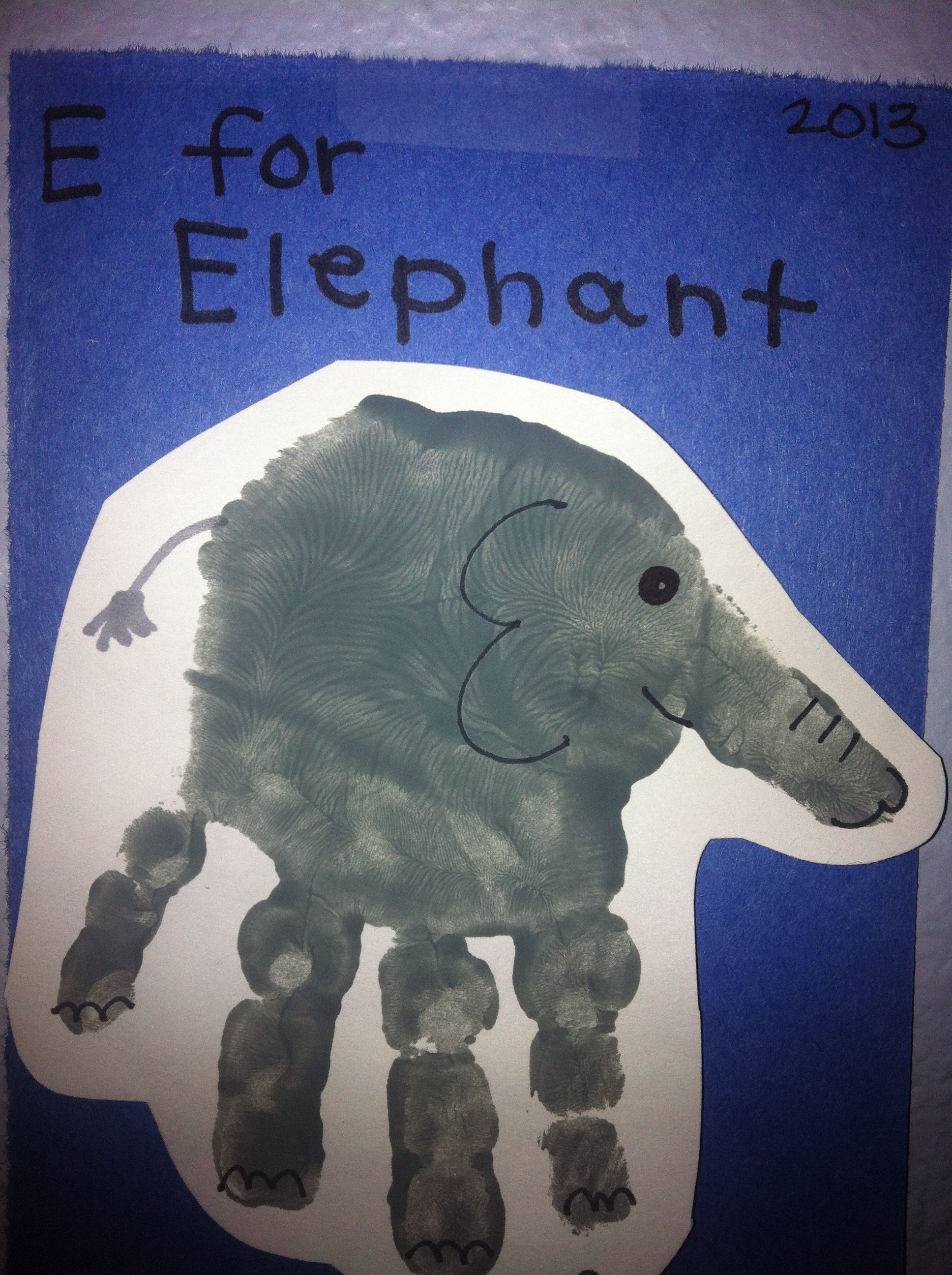 E for elephant handprint. Toddler art projects