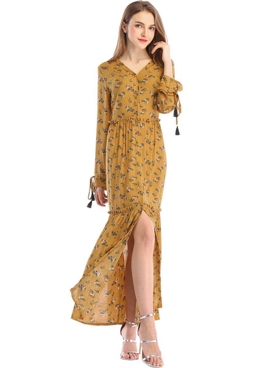 Stjubileens st jubileens womens floral print v neck long sleeve