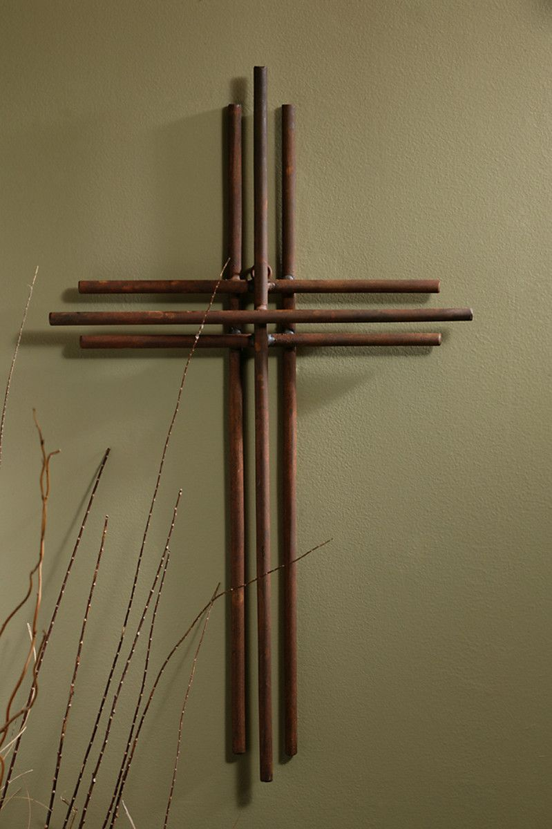 three layers of iron make up this gorgeously simple wall cross a beautiful compliment to both modern and traditonal decor made of iron measures h x w - Decorative Wall Crosses