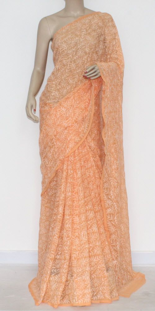 Light Orange Hand Embroidered Lucknowi Chikankari Saree (With Blouse - Georgette) Allover Tepchi Work 14586
