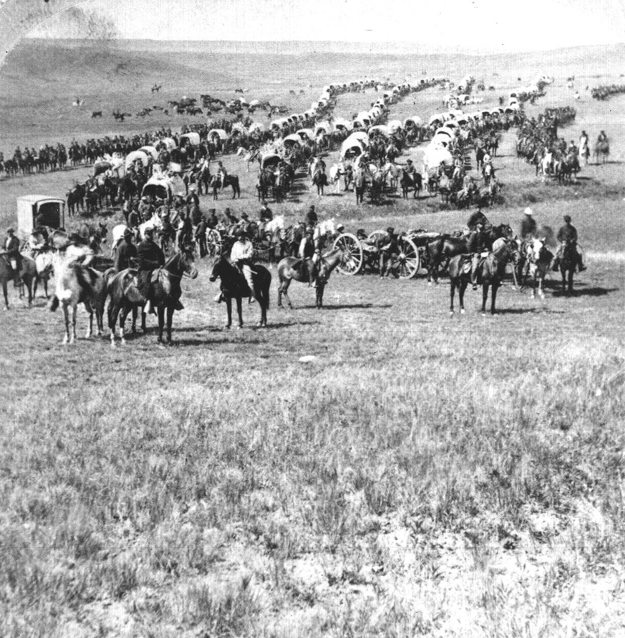 General Custer enters the Sioux' Black Hills of North Dakota and prospect for gold. His discovery of gold is designed to attract settlers. Thus, the U. S. breaks the Treaty of Fort Laramie, which forbade white men from entering the Sioux' sacred hills. General Custer's 1874 Black Hill's Expedition Force.