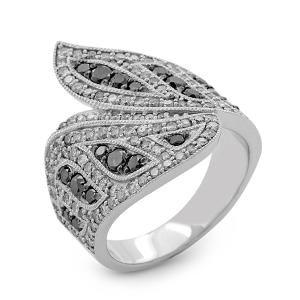 Malakan Jewelry - Platinum-Silver Ladies Ring with Black Velvet Diamonds and Milgrain 93582B3
