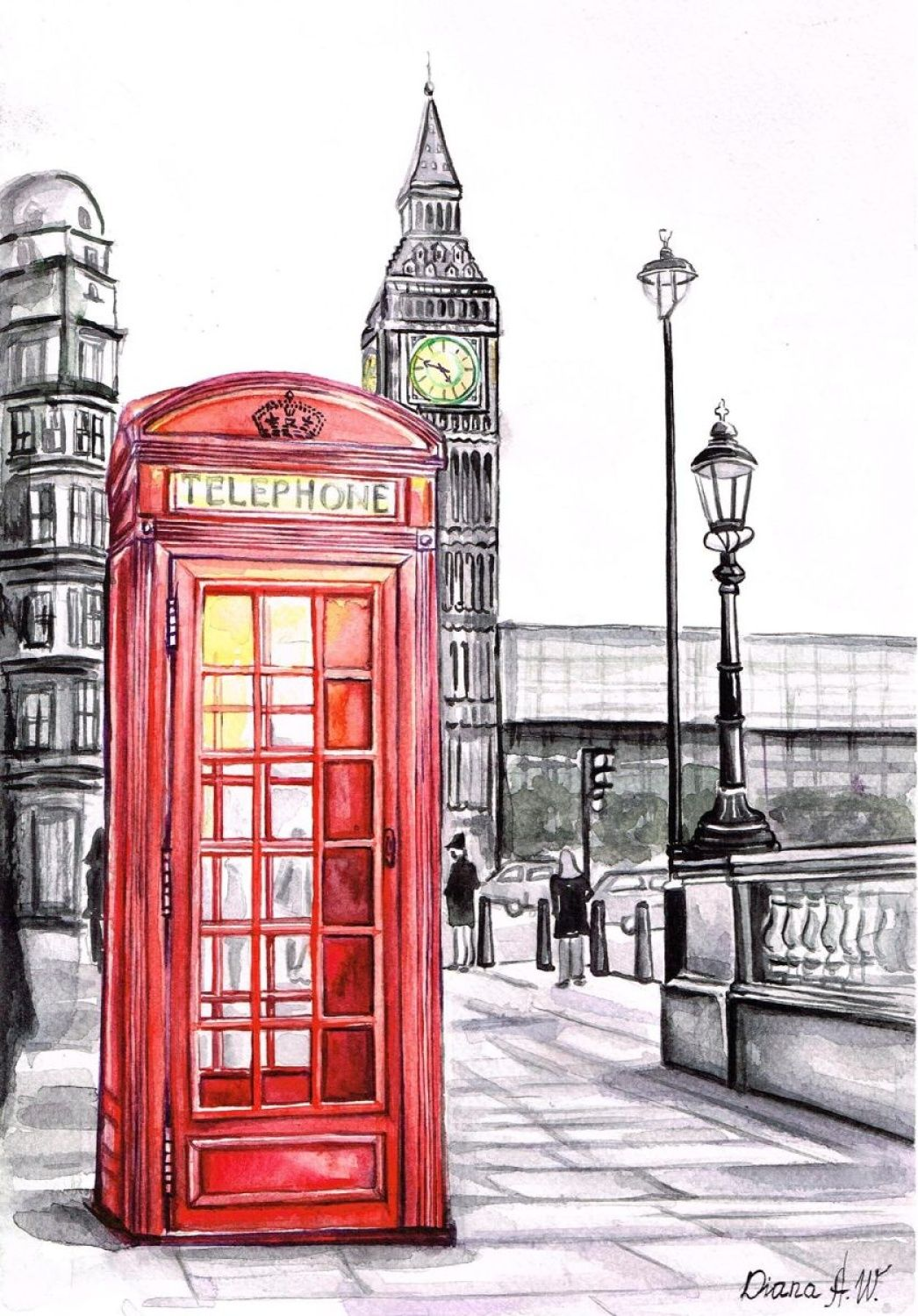 diana aleksanian watercolor london red telephone box big ben
