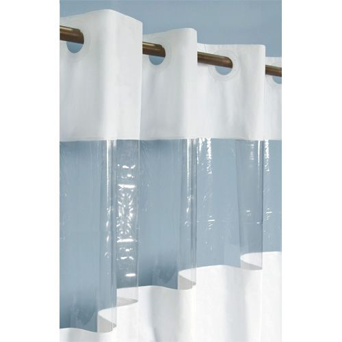 Hook Free Vinyl Shower Curtain With Clear Panel Bathroom Vinyl