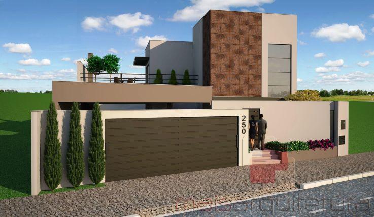 Fachada frontal com muro edfs conceitos plantas e for Casa moderna 2019