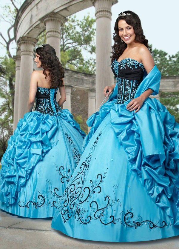 Gorgeous! Turquoise & Black Quince or Sweet 16 Dress | Jo's colour ...