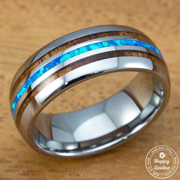Tungsten Carbide Ring With Blue Opal Hawaiian Koa Wood Tri Inlay