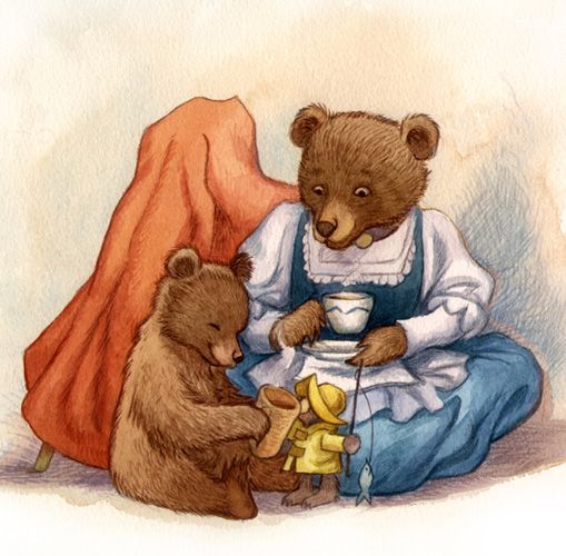 David Wenzel Little Bear Illustration Playing With Mother