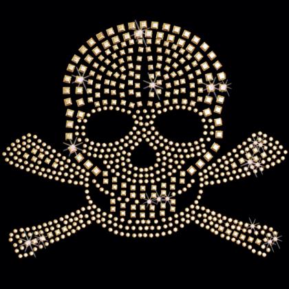 10x8 - ALTIN STUDDED KAFATASI - altın çivili kafatası, Materyal Transfer, Kafatasları