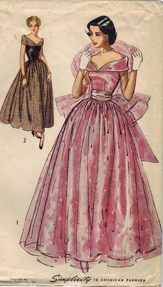 1940s Simplicity 2964 Vintage Sewing Pattern Junior Misses Floor ...