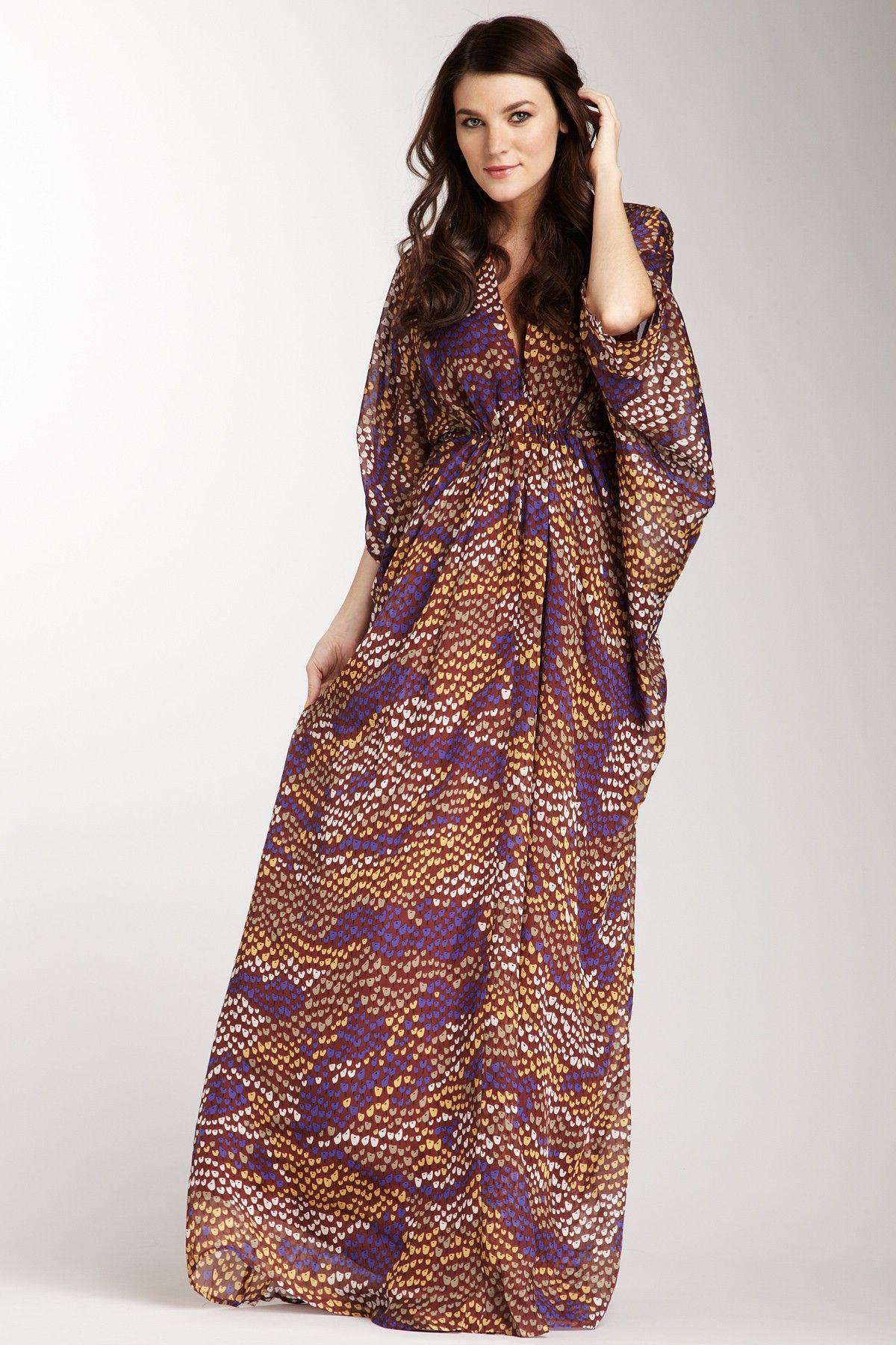 Issa London V-Neck Dress with Kimono Sleeves