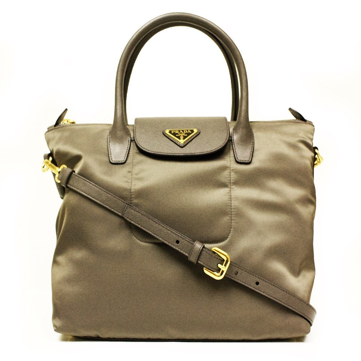 c0c714336314 Prada Fumo Tessuto Saffian Gray Nylon and Leather Shopping Zip Top Tote