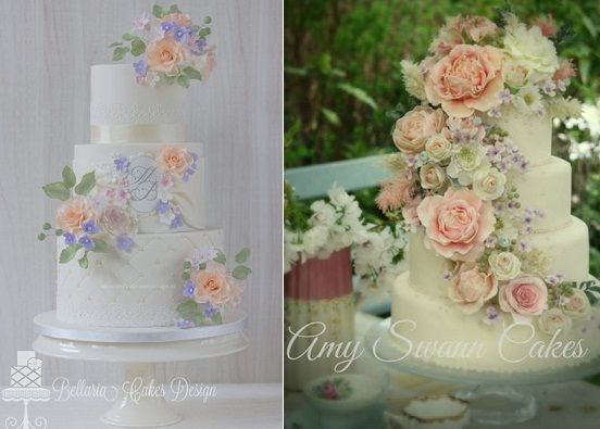 English Garden Wedding Cakes By Bellaria Design Left Amy Swann Right