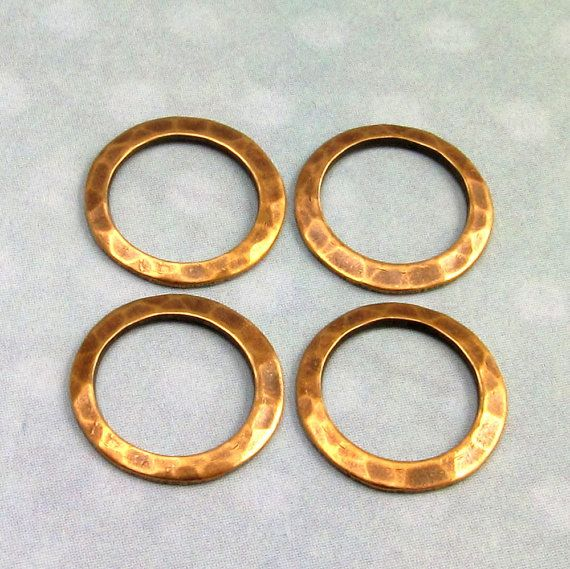 Small Hammered Ring Connector Antique Brass 13 MM 4Pc. by FabBeads