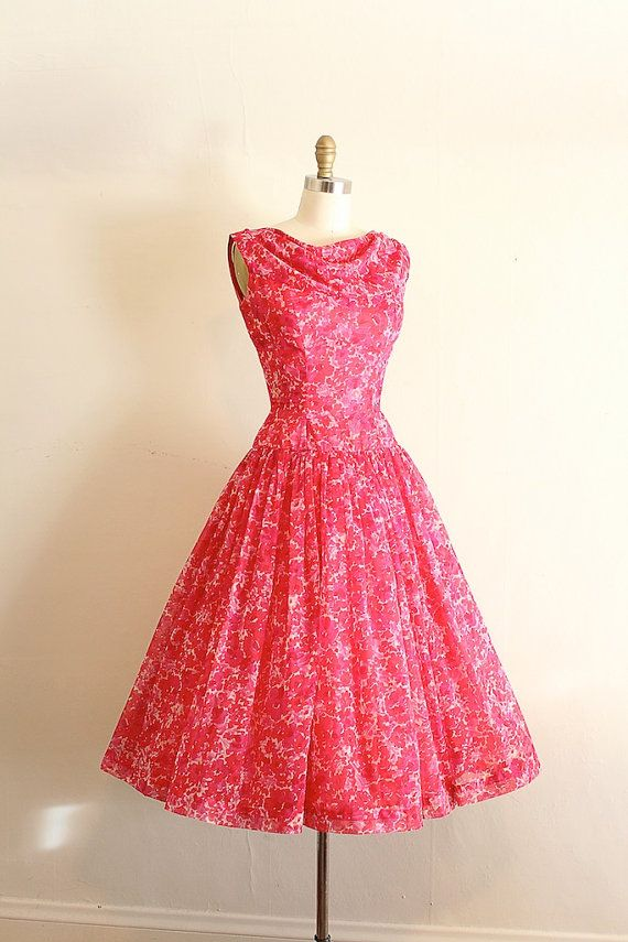 vintage 1950s dress // 50s pink floral prom | Fashion | Pinterest ...