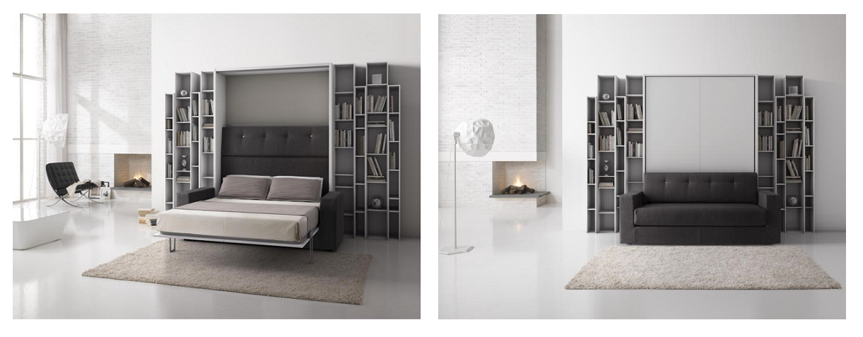 LETTO A SCOMPARSA con divano e libreria | LETTI A SCOMPARSA ...