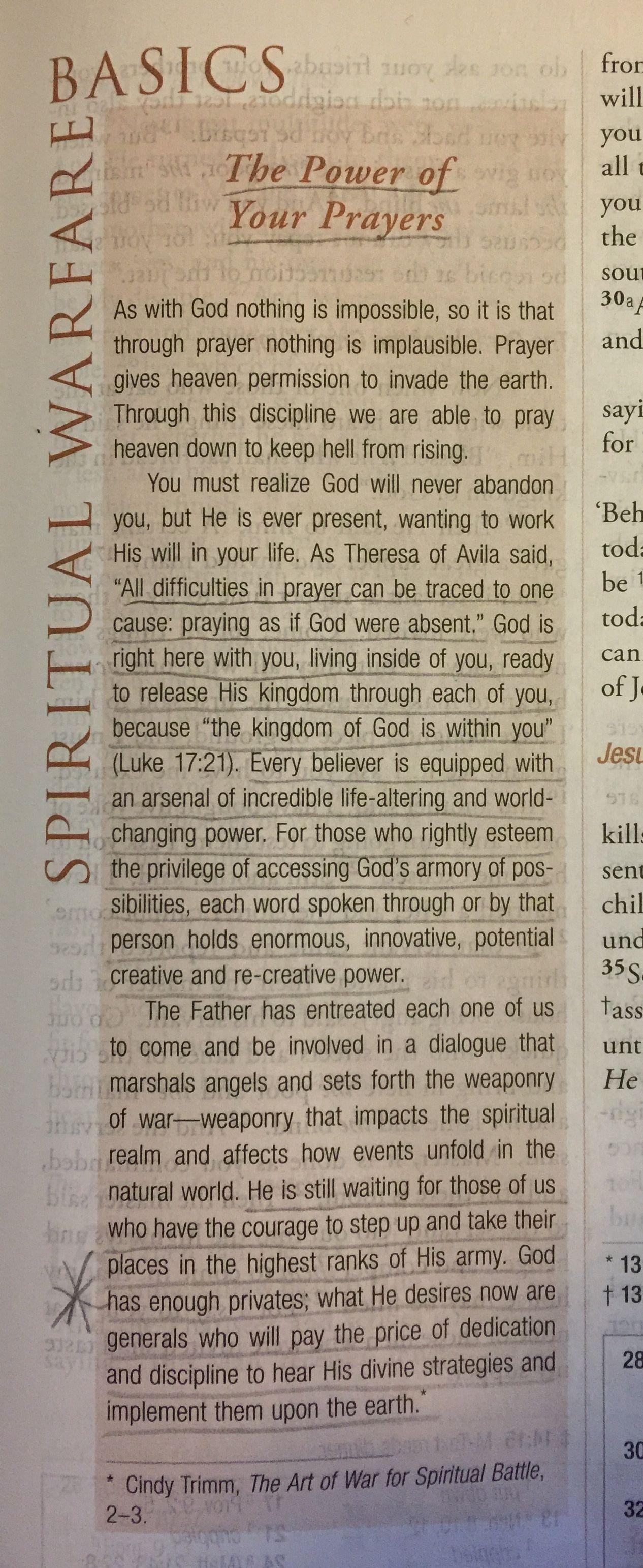 From The Spiritual Warfare Bible Pg