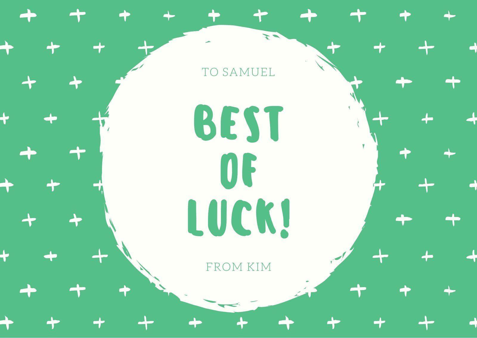 Green And Cream Goodluck Card Templatescanva Regarding Good Luck Card Templates Business Professional Te Good Luck Cards Goodbye And Good Luck New Job Card