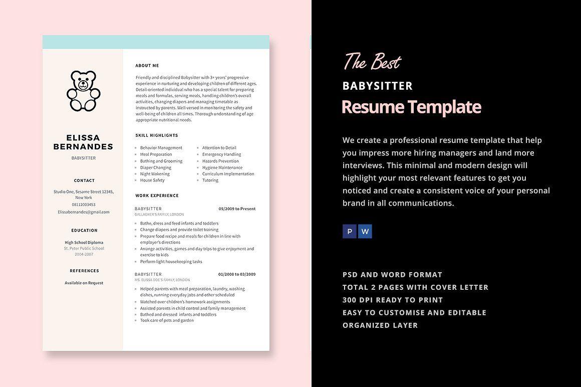 Babysitter Resume Template By Elissa Bernandes On Creativemarket Babysitter Resume Resume Templates Babysitter