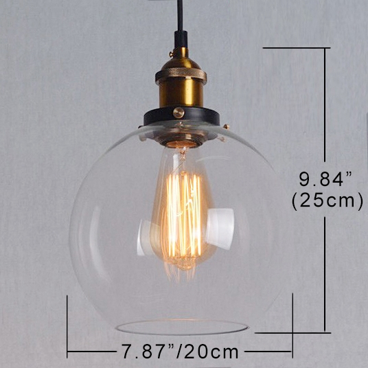Track Pendant Lights Crystal Glass Globe Lampshade Loft Decorative