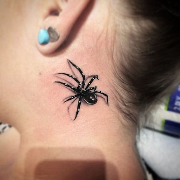 Spider Tattoo Behind Ear Intimate Tattoos Spider Tattoo Body Art Tattoos