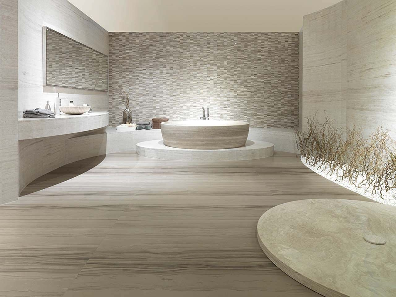Carrelage de salle de bain de sol en travertin poli travertino silk wood porcelanosa box for Porcelanosa salle de bain