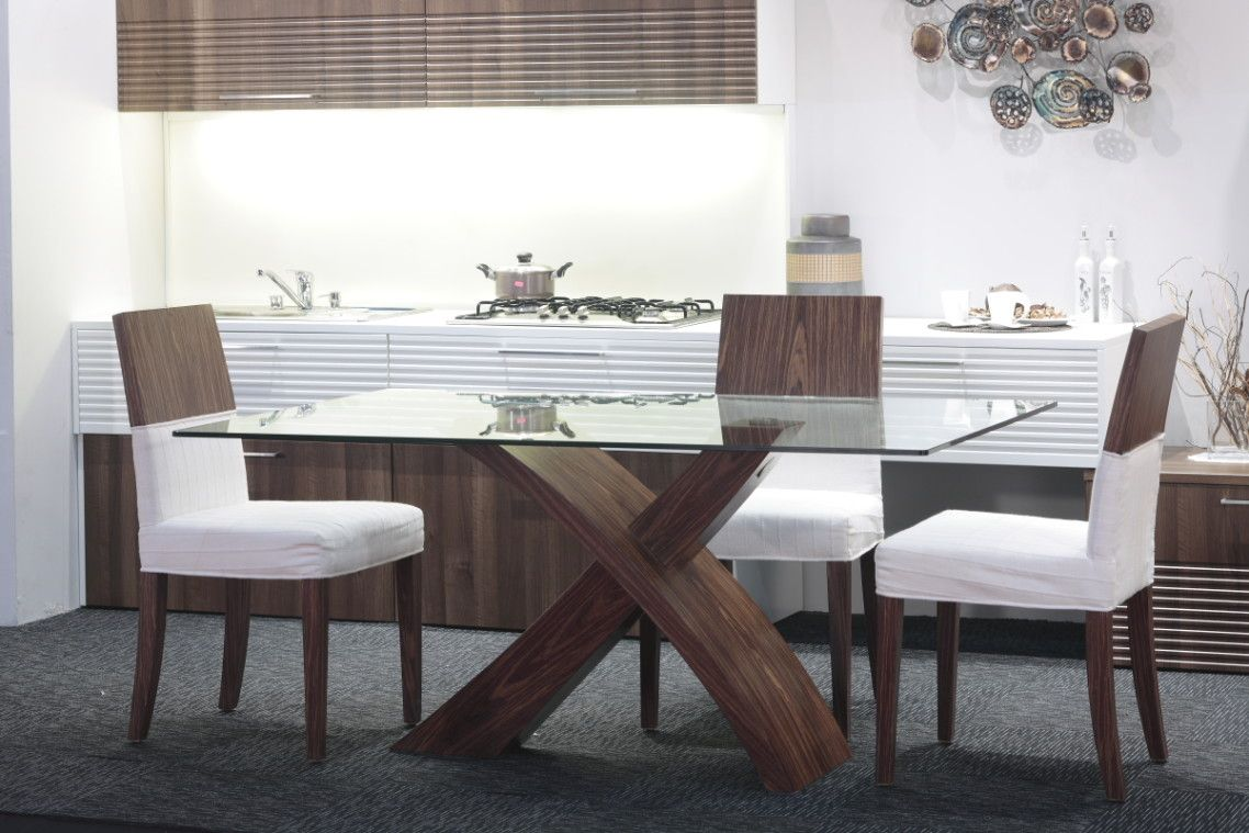 Contemporary dining table bases  Marvelous Design For Dining Table With Clear Rectangle Glass On Top