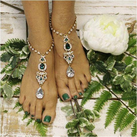 33cf804f62f15 ERINN barefoot sandals - emerald green gold