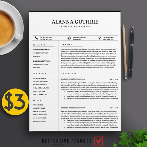 Professional 2 Page Resume Template   CV, 2 Cover Letters A4 \ US - examples of 2 page resumes
