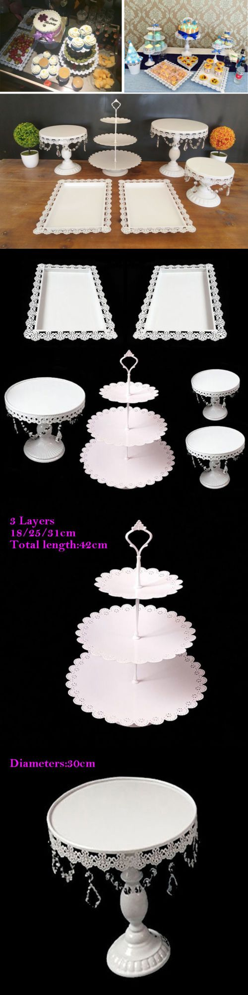 Set of crystal white metal cake holder cupcake stand wedding party