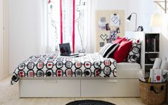 Bedroom Furniture - Beds, Mattresses & Inspiration - IKEA Teen room with storage under bed.