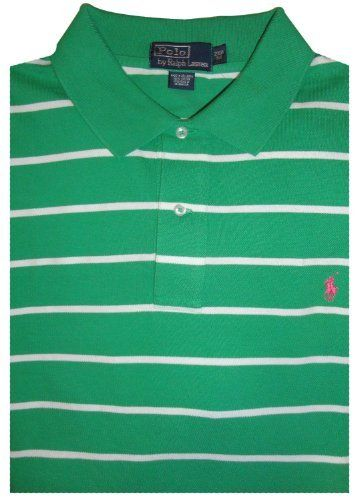 0427a59d Men's Polo By Ralph Lauren Big and Tall Short Sleeve Polo Shirt Green and  White Striped