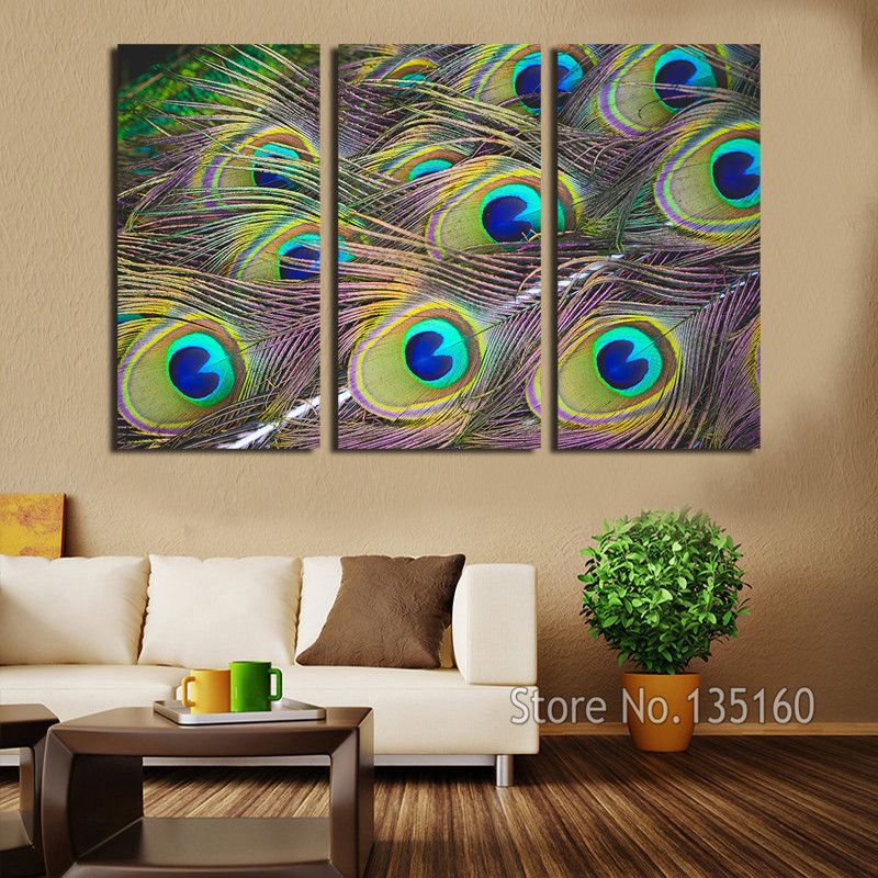 Peacock Feather Wall Art 3 Panel Decor Canvas Print Large Modern Painting Set Bedroom Decor Home
