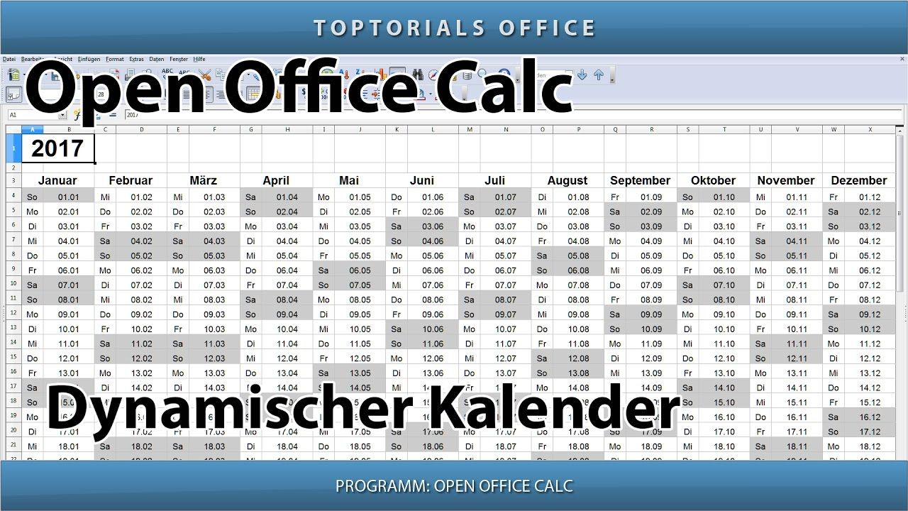 Dynamischen Kalender Erstellen Download Openoffice Calc Kalender Erstellen Jahresplaner Youtube