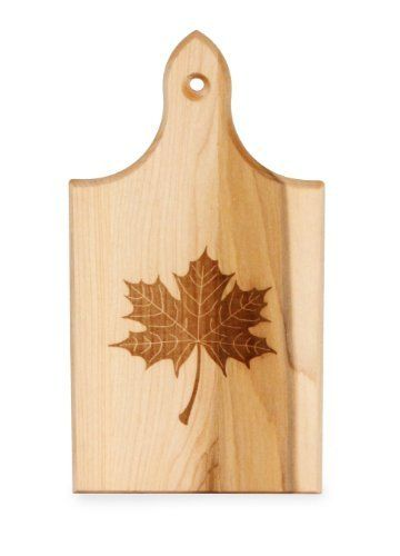 J K Adams Sugar Maple Wood Q Tee Cutting Board With Laser Engraved Leaf