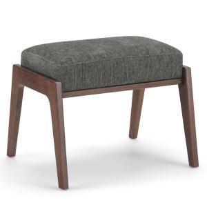 Simpli Home Kelsi 21 In Mid Century Modern Footstool In Deep Azure Chenille Look Fabric Axcot 277fs Da Modern Footstool Footstool Simpli Home