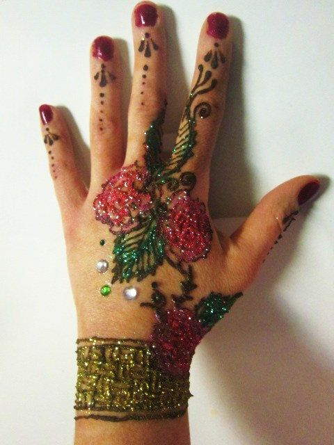 Henna And Glitter Tattoo Kit With Jewel By Infinefeathers On Etsy