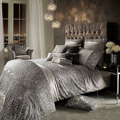 Kylie minogue esta sequin satin silver king size cotton 7 piece ...