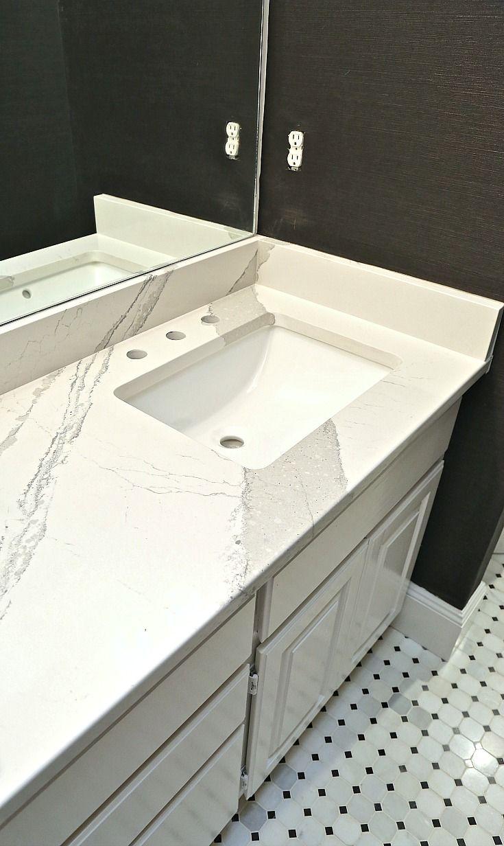 Cambria Quartz Countertop And Marble Hexagon Tile Bathroom