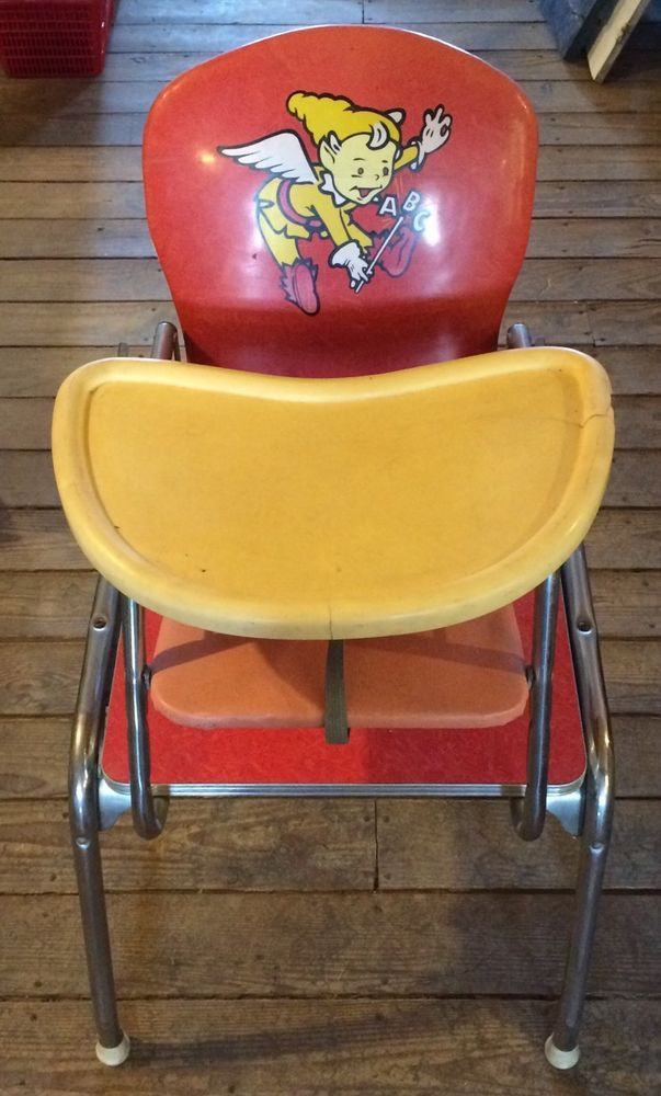 Vintage U002750s U002760s Chrome, Vinyl, Formica Babyhood Wonda Chair High